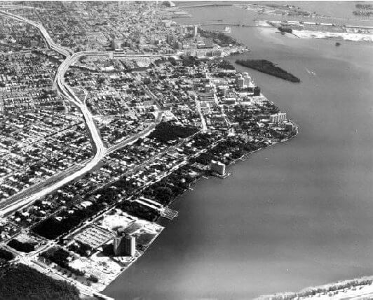 Aerial view of Miami in 1969, note the undeveloped Brickell Key.