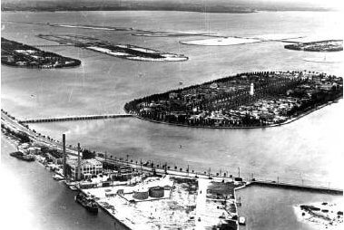 Star Island, Palm Island, and Hibiscus Island, in Miami Beach with the brand new Venetian Islands in the background