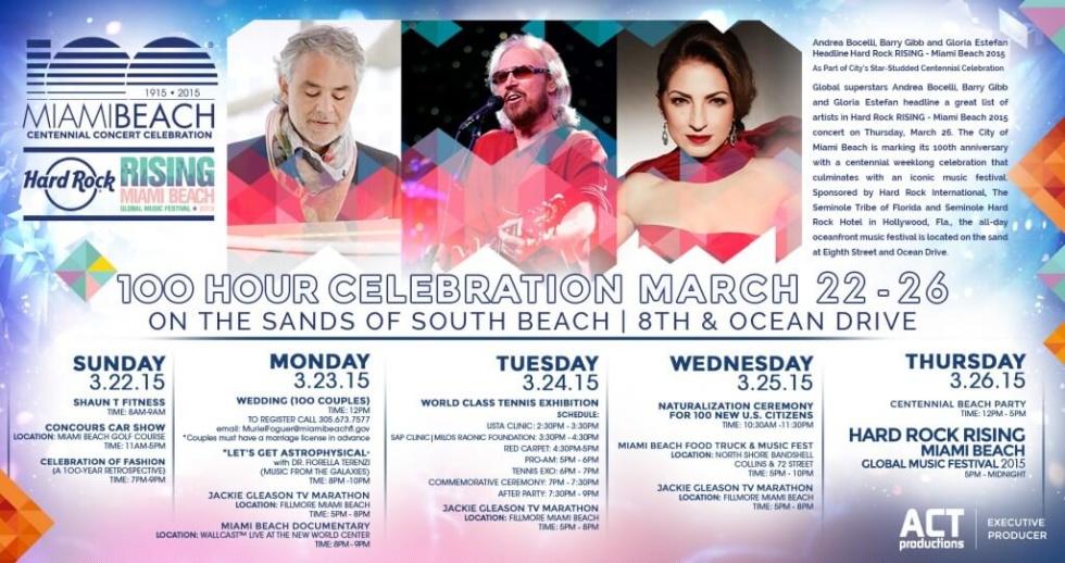 Free Miami Beach Centennial 100 Hour Celebration in March 2015!