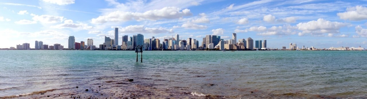 Panoramic View of Biscayne Bay and the Miami Skyline taken from Virginia Key