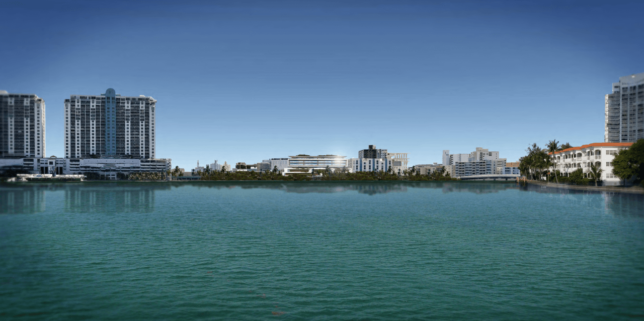 View of Sunset Harbour Residences from Biscayne Bay