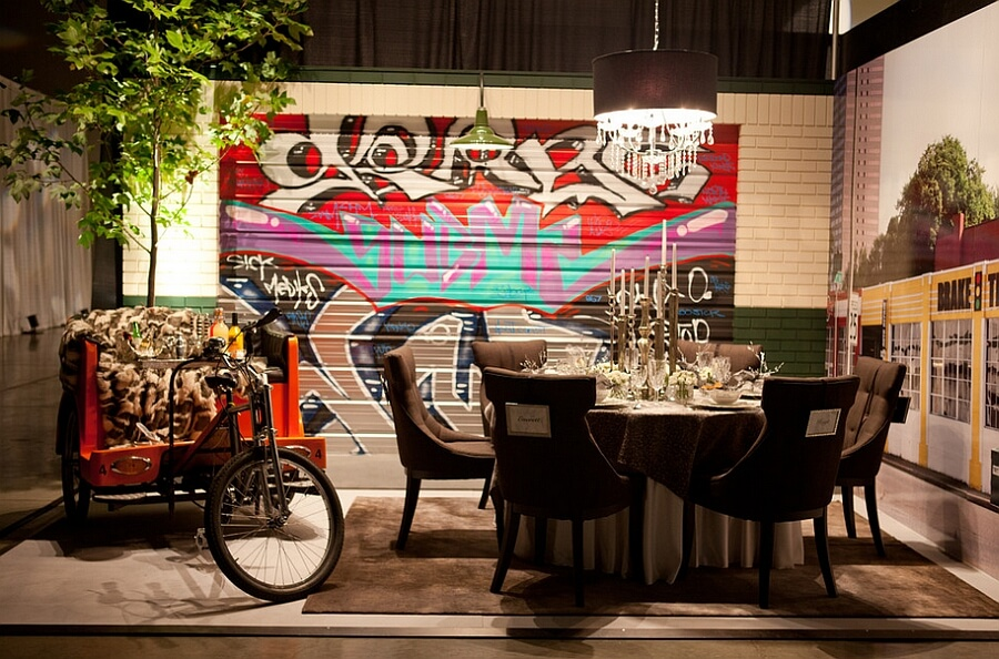Funky Dining Room Appears To Be Outdoors With A Brick Wall And Some Great Graffiti Art